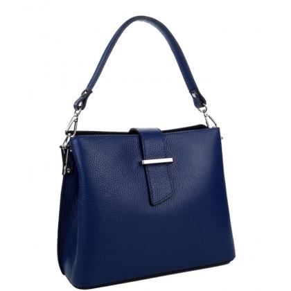 Дамска чанта от естествена кожа в тъмносиньо 18253-3