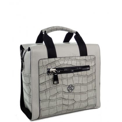 Дамска чанта-раница от еко кожа в сиво 2561