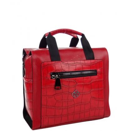 Дамска чанта-раница от еко кожа в червено