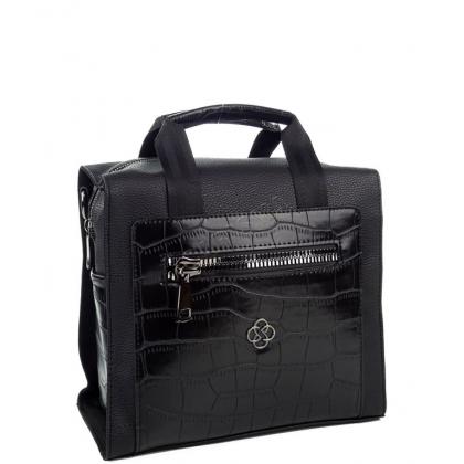 Дамска чанта-раница от еко кожа, черна, 2561-4