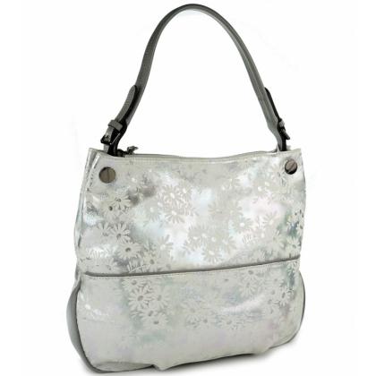 Бяла кожена чанта на цветя, 3892T-3