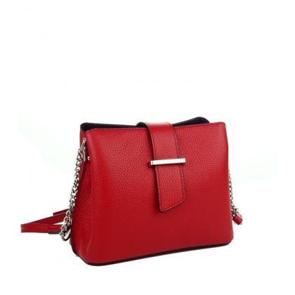 Малка кожена чанта в червен цвят 18263