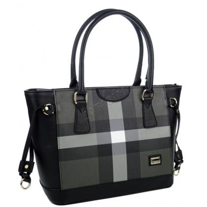 Дамска чанта на райета от еко кожа
