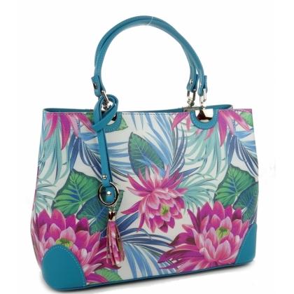 Дамска чанта от естествена кожа, Цветя, 188883-2