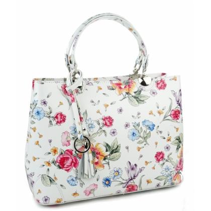 Дамска кожена чанта, Бяла, На цветя, 188883-3