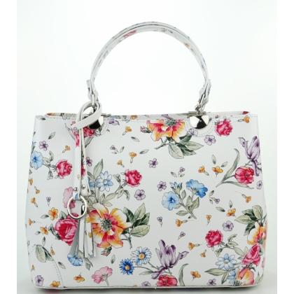 Бяла чанта на цветя