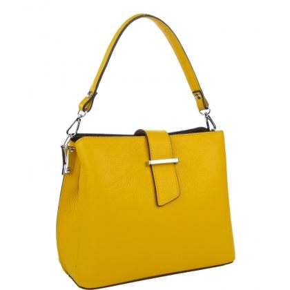 Дамска чанта от естествена кожа в жълт цвят 18253-2