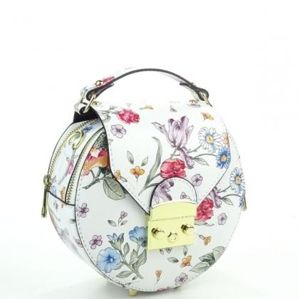 Малка дамска чанта, Бяла, На цветя,10203