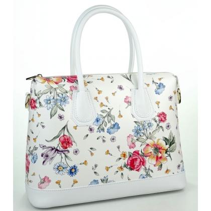 Дамска кожена чанта на цветя в бял цвят 1155-6