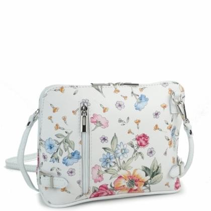 Малка кожена чанта за през рамо, Бяла на цветя, 11193