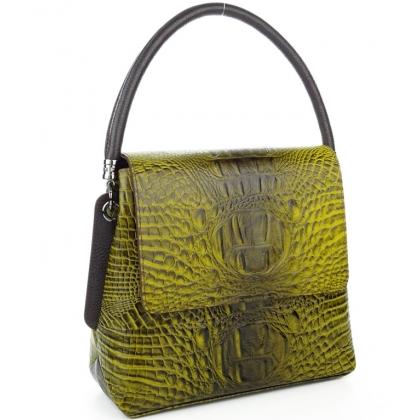 Елегантна дамска чанта, Жълта, Среден размер, 9889