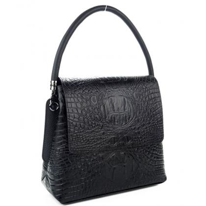 Дамска кожена чанта с капак, Черна, Среден размер, 9889-1