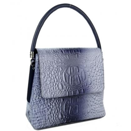 Сивосиня дамска чанта шагрен