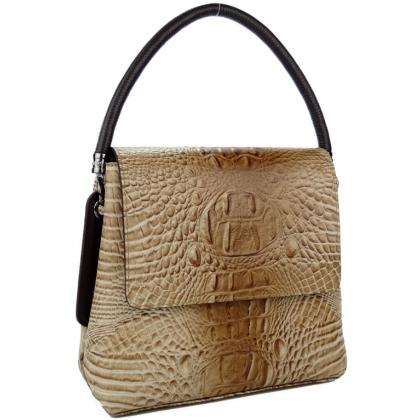Бежова кожена чанта