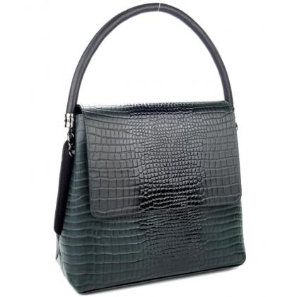 Тъмно зелена дамска кожена чанта, С капак, Среден размер, 9889-4
