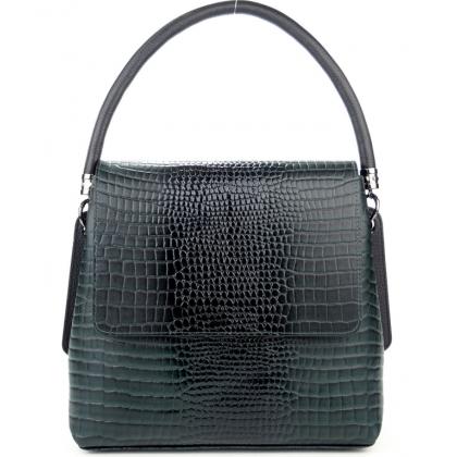 Кожена дамска чанта с капак