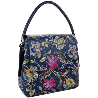 Тъмно синя дамска чанта на цветя, Среден размер, 9889-5