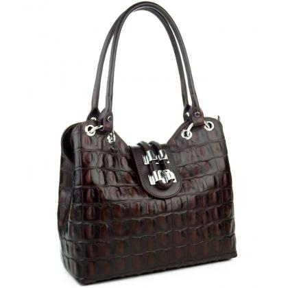 Тъмно кафява дамска чанта