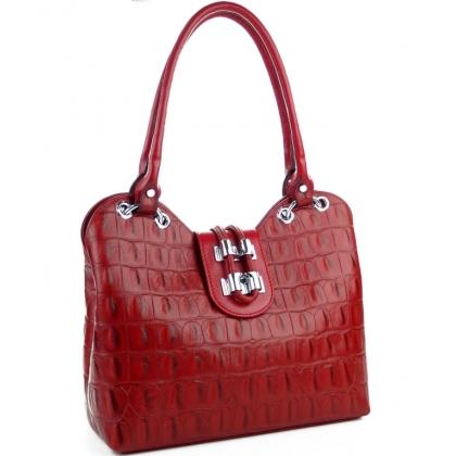 Червена дамска кожена чанта, имитираща крокодилска кожа, 1827-9