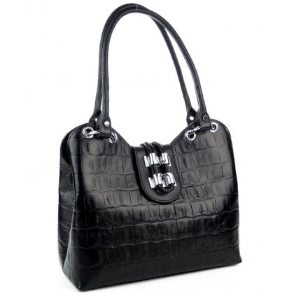 Стилна черна дамска чанта, Кроко щампа, 1827-12
