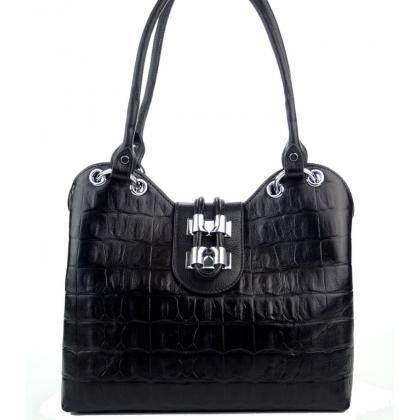 Черна чанта кроко