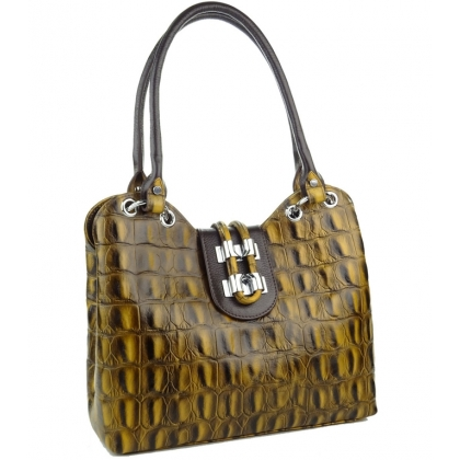 Жълта дамска чанта с крокодилска щампа, 1827-13