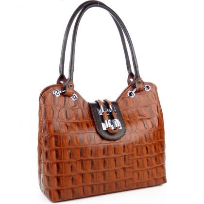 Оранжева дамска кожена чанта, Кроко ефект, 1827-15
