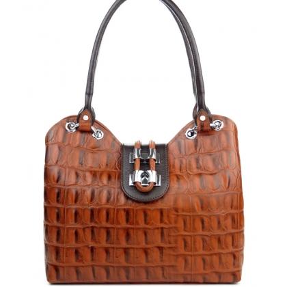 Дамска кожена чанта кроко