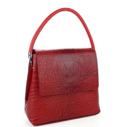 Елегантна дамска чанта с капак, Червена, Кроко, 9889-6
