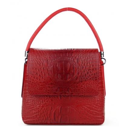Дамска кожена червена чанта