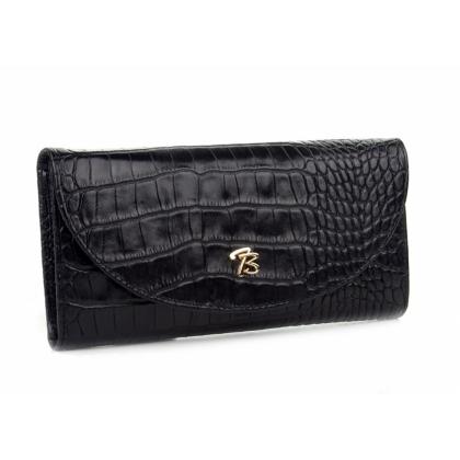 Черен дамски портфейл, Кроко ефект, 871-1