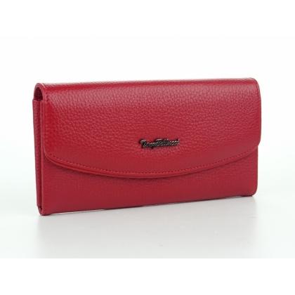 Червено дамско портмоне от естествена кожа, 887