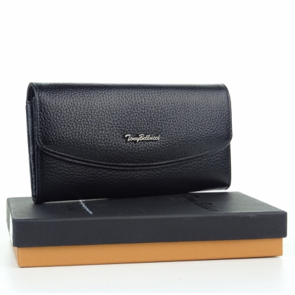 Черно дамско портмоне, Естествена кожа, 887-1