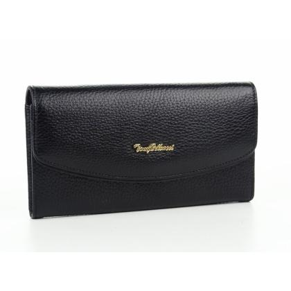 Черен дамски кожен портфейл, 887-2