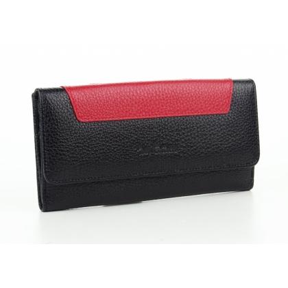 Двулицев луксозен дамски портфейл, Черно и червено, 885-1