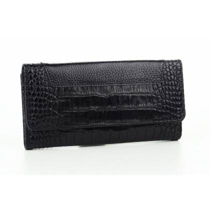 Двулицево дамско портмоне, Черно, Кроко, 885-3
