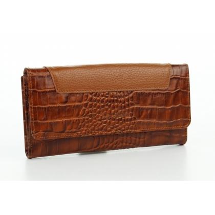 Голям дамски портфейл, Коняк, Кроко, 885-4