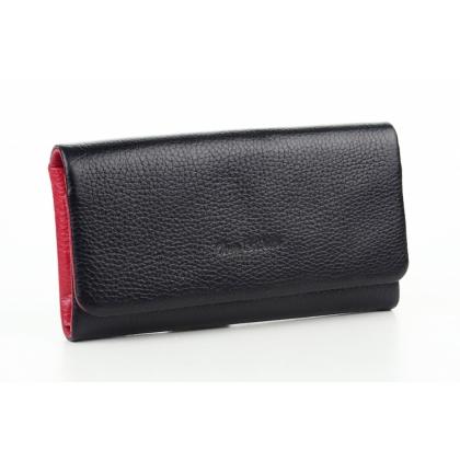 Меко дамско кожено портмоне, Черно и червено, 888-1