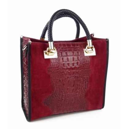 Чанта от естествена кожа и  велур 1367-3