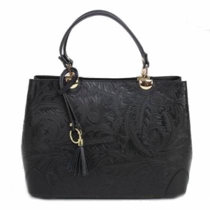 Черна твърда чанта с флорален принт, 188883-5