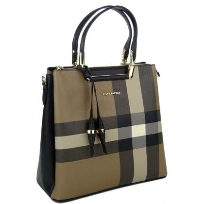 Карирана дамска чанта от еко кожа 969-2