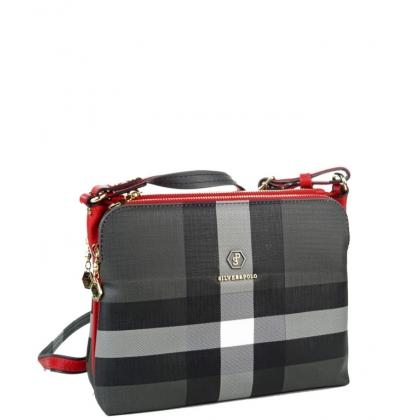 Дамска чанта от еко кожа на райета