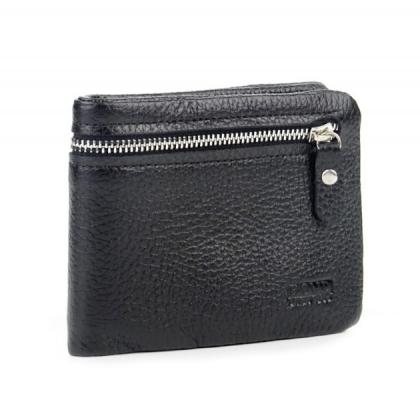 Мъжки черен портфейл с цип, 502