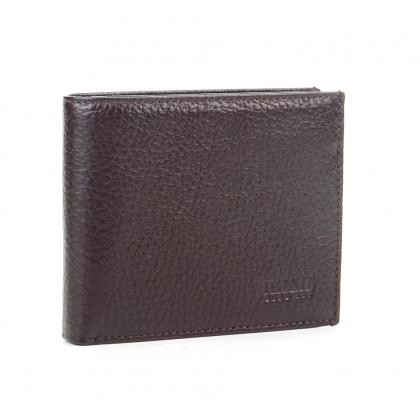 Тънък мъжки кожен портфейл, Тъмнокафяв, 567-1