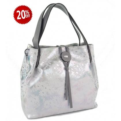 Бяла и сива дамска чанта
