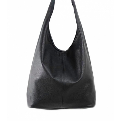Черна дамска чанта тип торба, Естествена кожа, 1394-1
