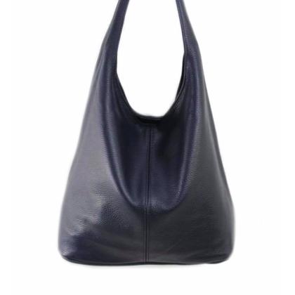 Тъмносиня дамска чанта тип торба, 1394-11