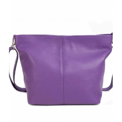 Лилава кожена чанта, Мека естествена кожа, 1216L-7