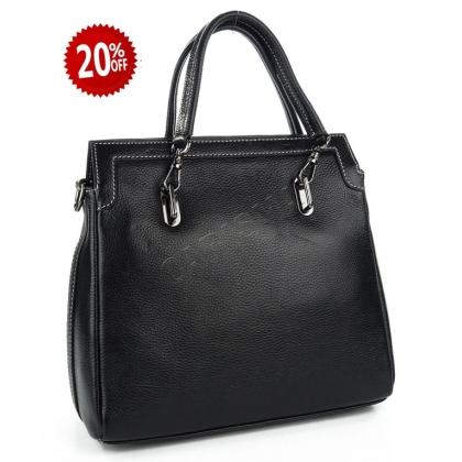 Дамска кожена чанта в черно 8327-1