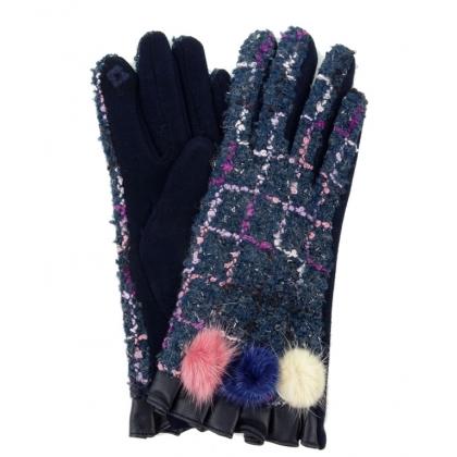 Дамски ръкавици от текстил и кожа, 3023